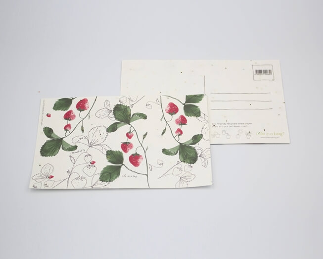 Picture of Plantable postcard with Strawberry Illustration