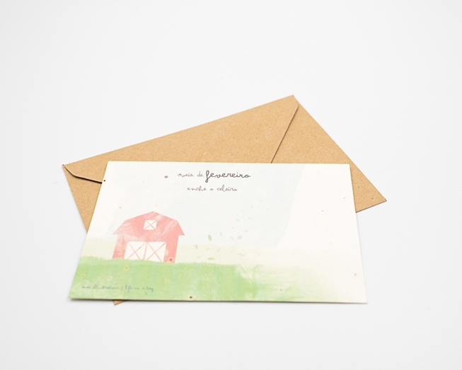 Bild von Pflanzliche Postkarte mit Sprichwort vom Februar