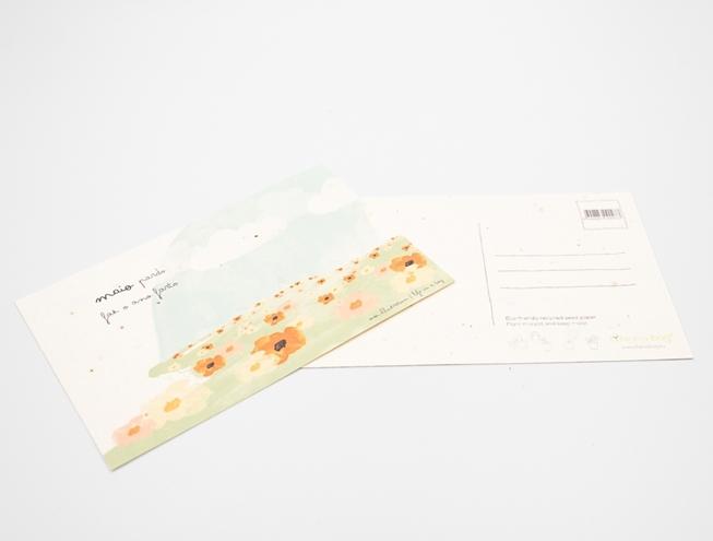 Bild von Pflanzliche Postkarte mit Sprichwort vom Mai