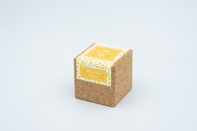 Cork cube with magnet to grow a sunflower