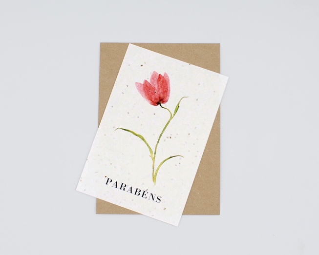 Postal com sementes - parabéns