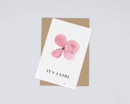 Postal com sementes - it's a girl